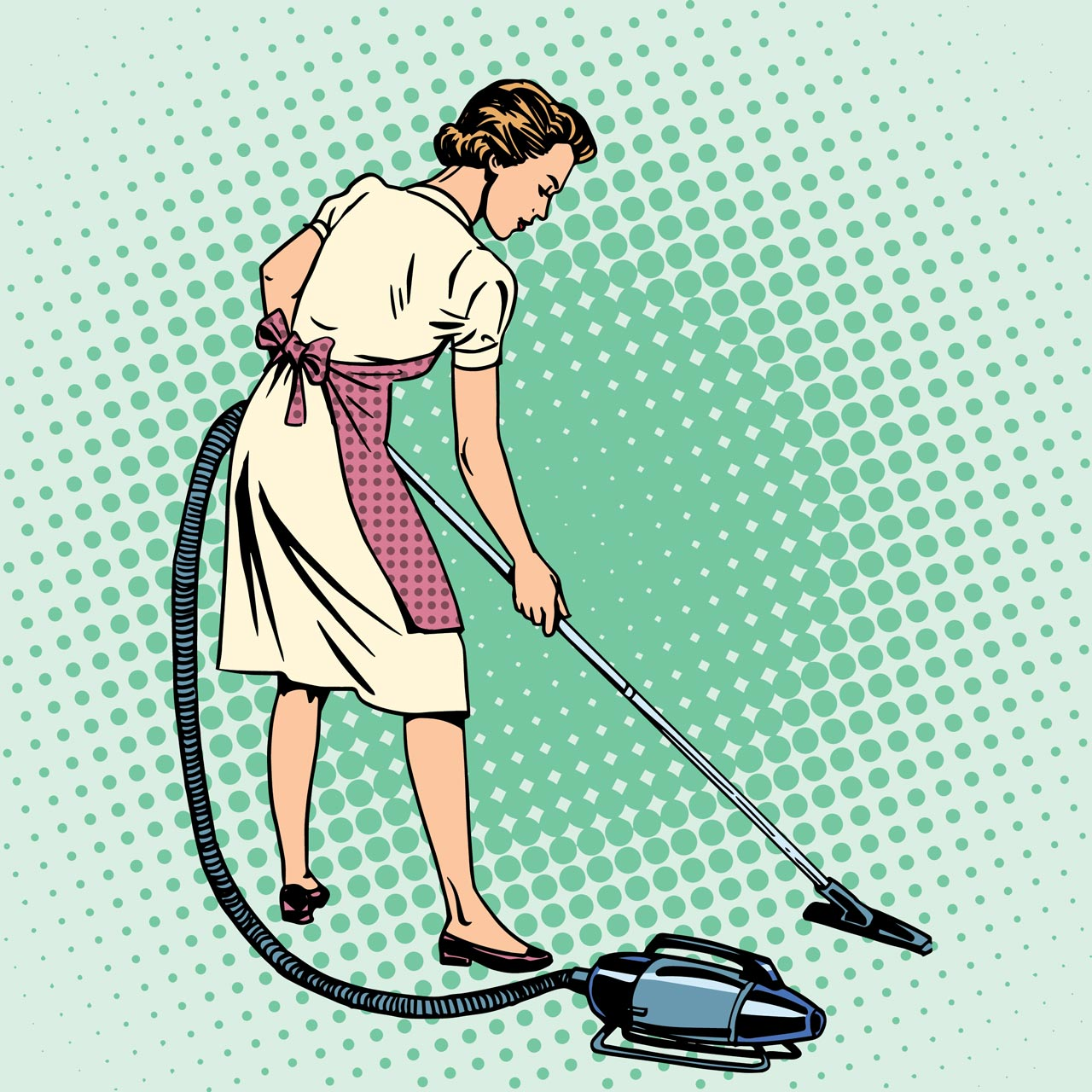 Retro Lady Vacuuming Clean Clique Home Page